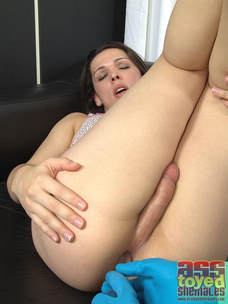 Brunette tranny with small tits sucks