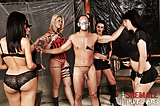 Tgirls dominate a blindfolded guy