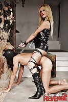 Adryella with her male slave in collar