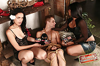Guy sissification with hot trannies