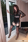 Shemale In Nylon Stockings Spreads Legs & Blowjob