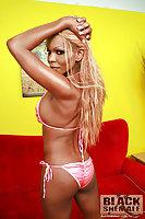 Pretty Ebony In Bikini Shows Fake Tits & Nice Dick