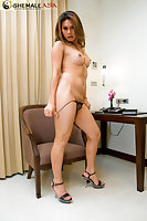 Shemale stunner Benz works cock just in high heels
