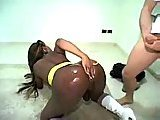 White stud drills ebony ladyboy ass