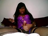 Sexy ebony tranny strokes her great dick on cam