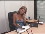 Sexy shemale relaxing at office