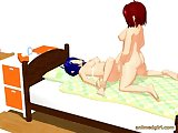 Two 3d animated shemales fucking each other on the bed