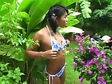 Teen ladyboy show outdoors