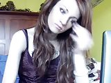 Petite tranny solo on webcam