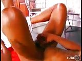 Blonde TS hottie drilling dude