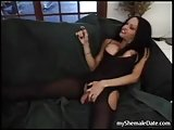 Flaming shemale in black stockings fucks with guy