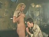 Blonde tart fucks with soldier