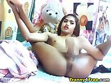 Hot Tranny Strips and Masturbates