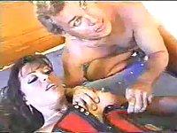 Two chaps screw Tgirl in corset