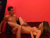 Longhaired ladyboy screwing