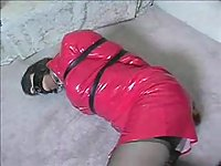 Tranny In Latex Dress Gets Tied
