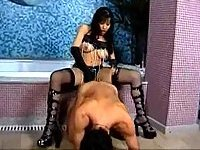 Brunette tgirl likes domination