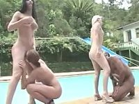 Lewd Foursome Entertains By The Pool