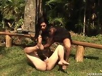 Cruel Renata Araujo forces a chap to sucking