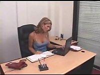 Tied tranny office masturbation