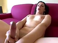 Burning tranny uses a toy for selfsatisfaction