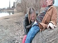 Hot mature Tgirl sucking cock outdoor