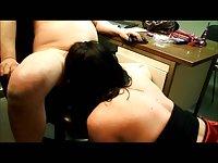 Alexandra sucking a cock in an office