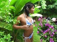 Teen ladyboy show outdoors