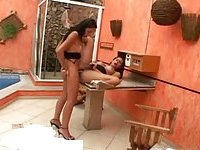 Two latina trannies hot fucking poolside