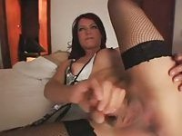 Hot chick with dick in stockings