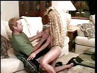 Slutty blondeTgirl spanked