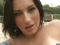 This sexy shemale by the pool jerks off her big cock