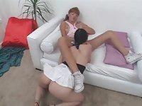 Girl rides tranny cock