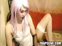 Cute Asian CD Masturbating