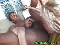 Naughty 3some with a blonde ts