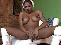Busty ebony Tgirl lactation solo