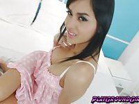 Pretty TS Gal on Polkadot Dress Jerks her Meat