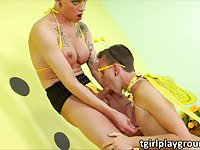 Shemale Danni plays with her honey bee lover in erotic anal fuck