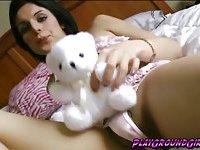 Lovely Alisha T holds her stiff hard cock