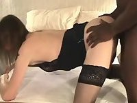 Homemade sex with a lingeried tranny chick