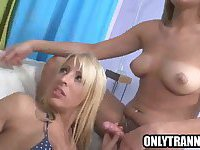 Blonde tranny double teamed by two hot shemales