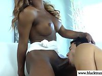 Nubian shemale rammed with white cock