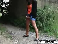 Outdoor crossdresser jerk