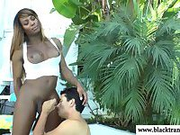 Ebony shemale sweet ass toy stimulated