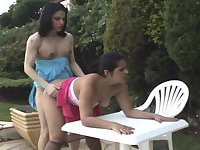 Shemale and tart outdoor fucking