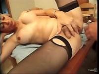Busty blonde TS gets analized