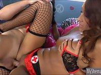 TS Gina Hart fucked hot babe Deanna Dare