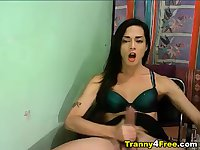 Big Cock Tranny Cums on Herself