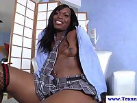 Ebony tranny masturbating at home alone