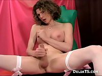 Solo Tranny with big boobs tugs off her pole